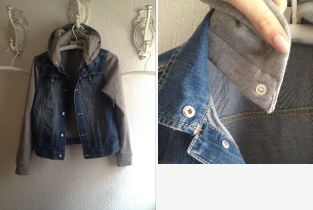 online retailer 9357c 0d043 Jeansjacke mit grauen Stoffärmeln :: Kleiderkorb.ch