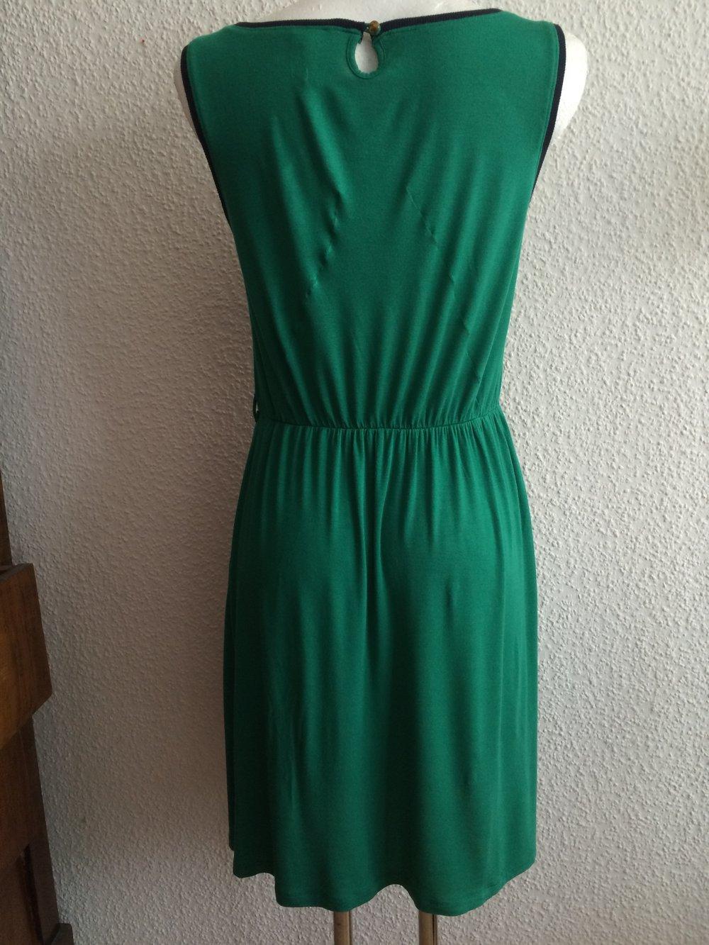 sepia Grün Jersey Sommer Träger Kleid mit Raffung & ausgestellt A Linie  Stretch