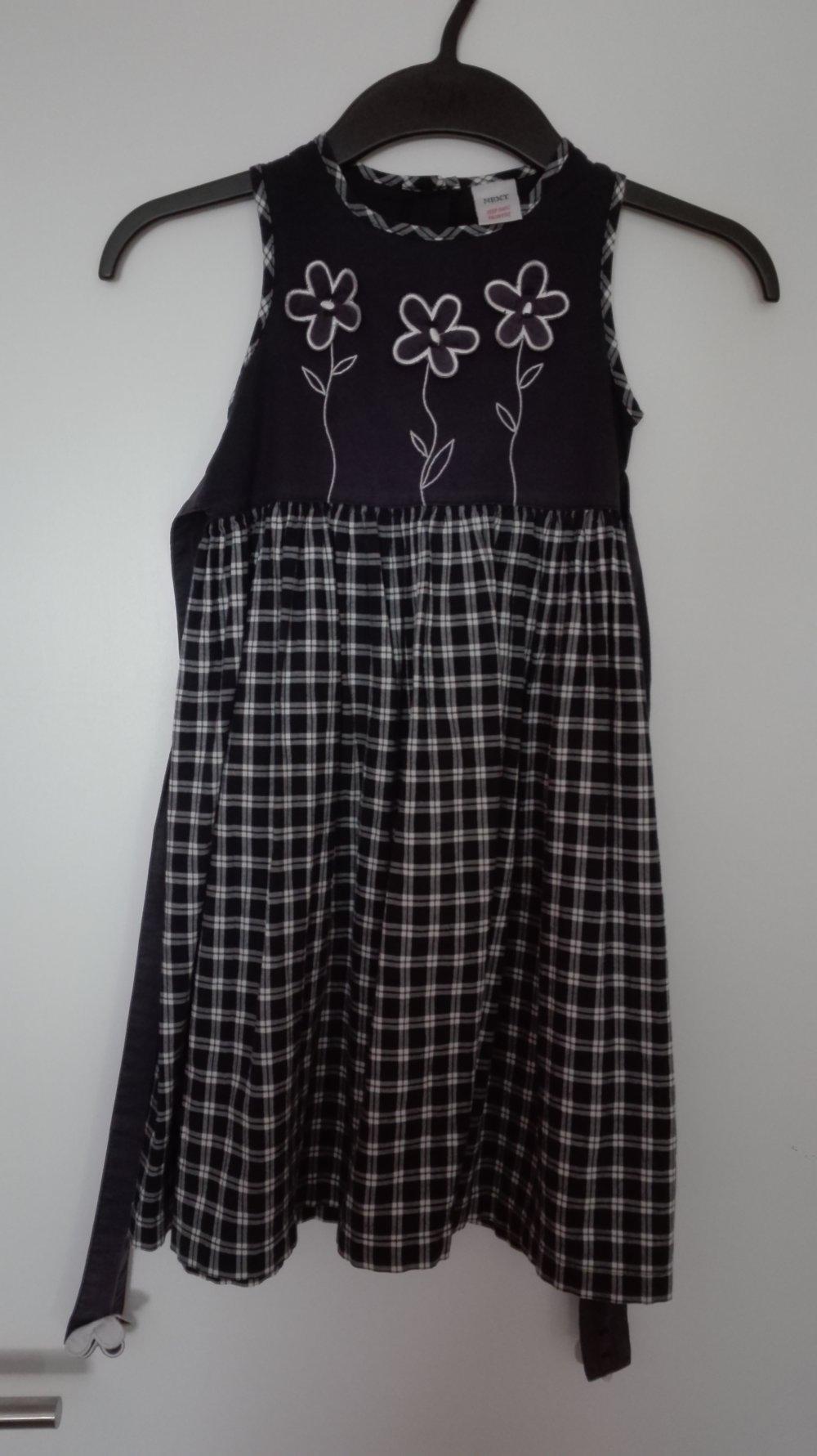 next - Next - dunkelblau kariertes Kleid mit Blumen, Gr ...