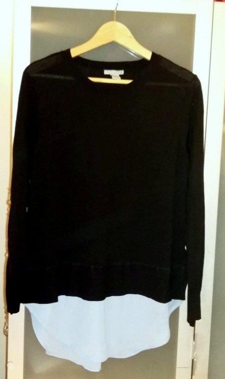 Pullover mit Bluseneinsatz aus Chiffon