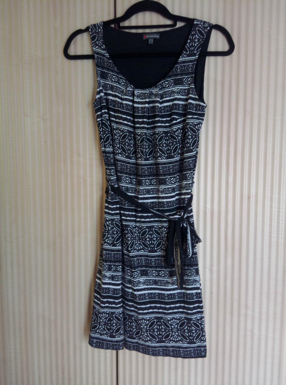 Street One Kleid Aber Kleid schwarz weiss gemustert Größe 34