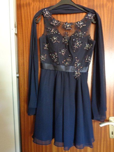 Niente - #Kleid festlich Gr. 36 dunkelblau mit Stola für ...