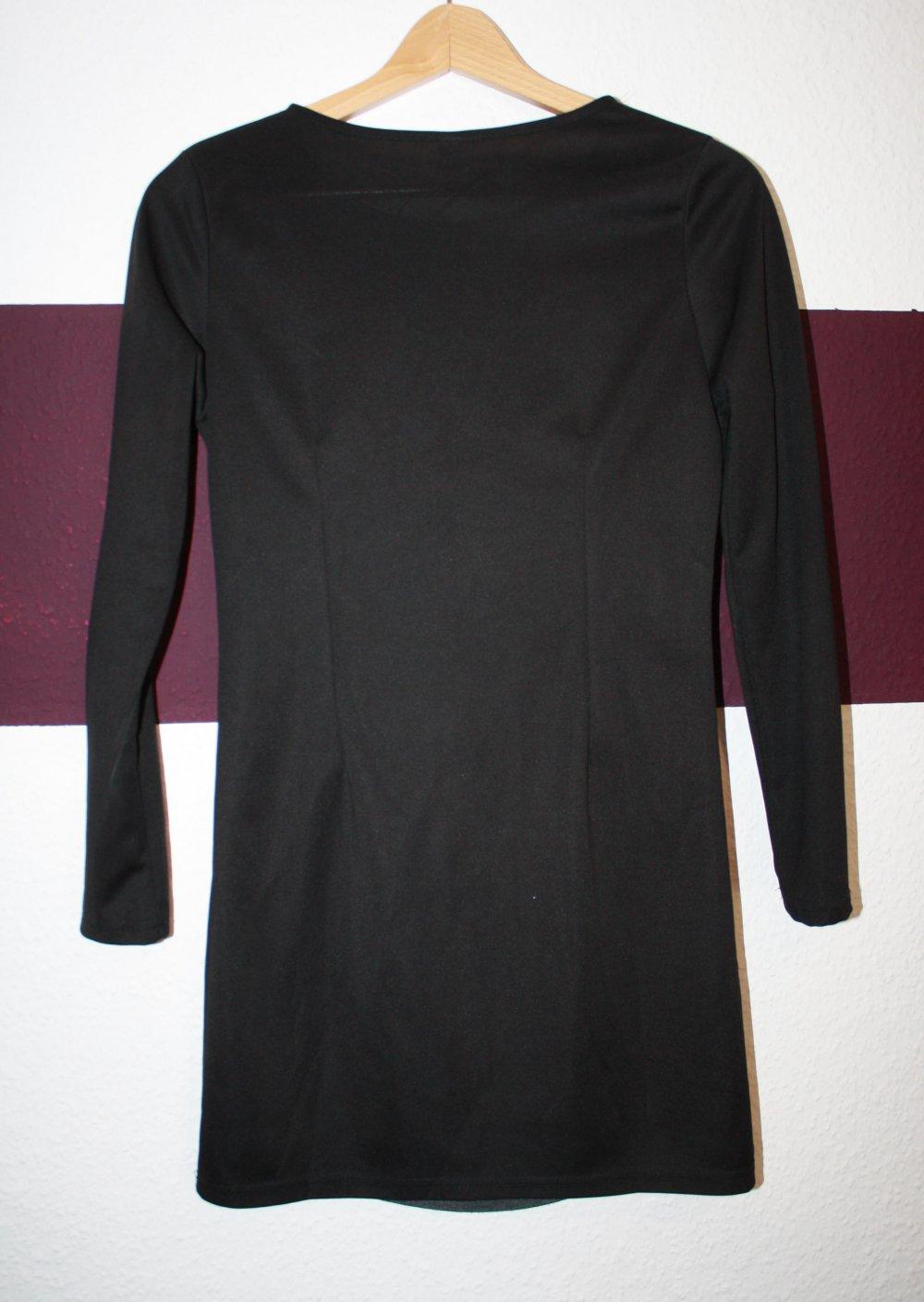Bodycon Kleid, mittelgrau schwarz, Langarm, Raffung ...