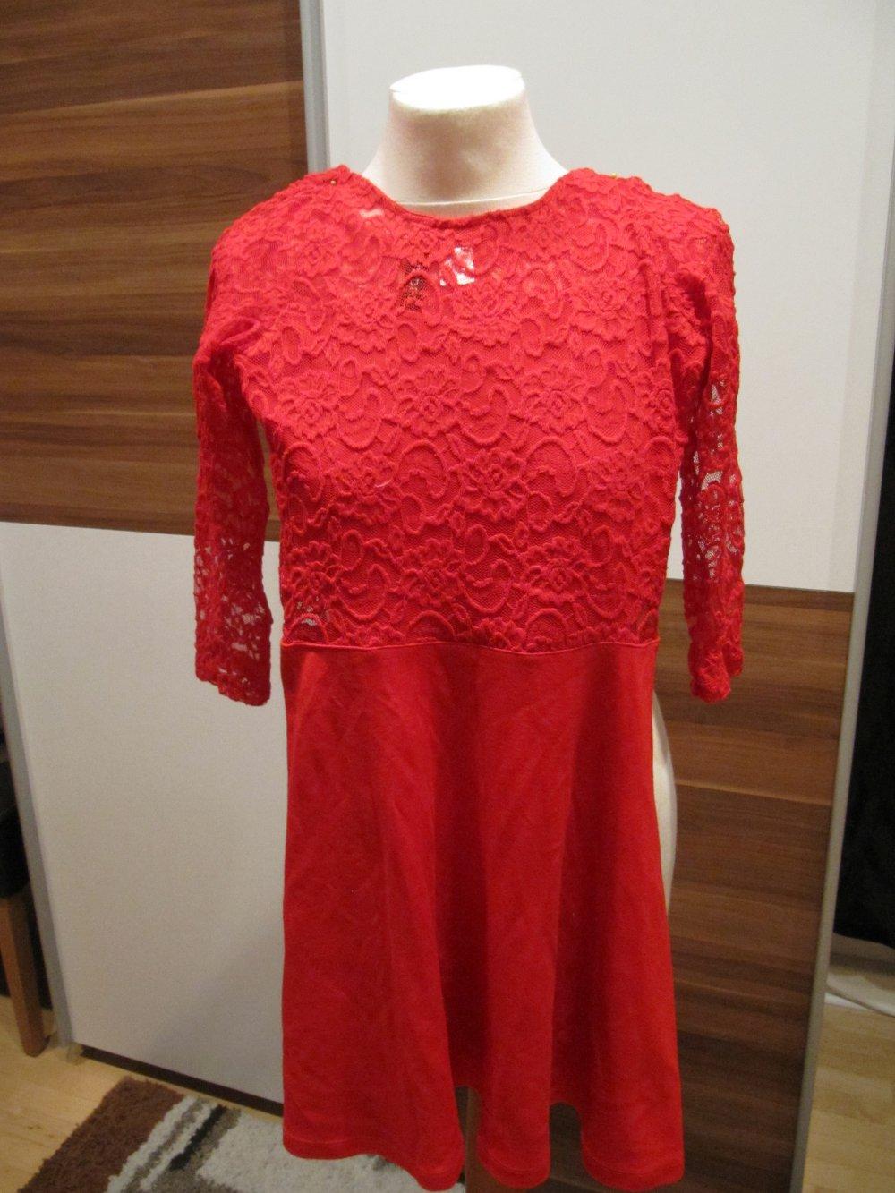 Kleid mit Spitze, rot, Größe 34, Divided H&M, 1mal ...
