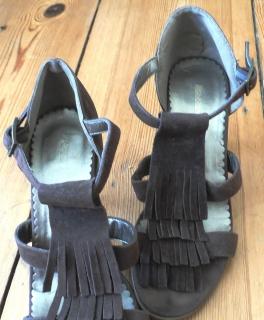 ... Süße Sandaletten Gr.38, mit Fransen, 8 cm Absatz 8624457390