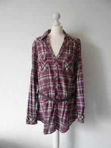 Softshell Jacke L anthrazit Pink lila Karo Bluse Hemd mit Gürtel 44 fe6280a428