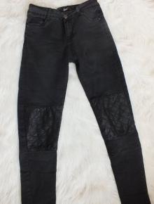 2858a8a80514f hellblaue Jeans von Tally Weijl Röhrenjeans mit Ledereinsätzen